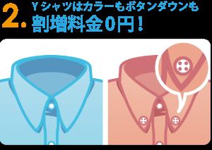 Yシャツはカラーもボタンダウンも割増料金0円!